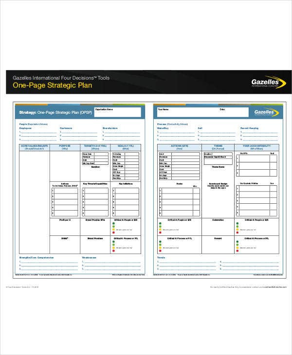 11 One Page Strategic Plan Templates Pdf Word Free Throughout 1 Page Business Plan Templates Free