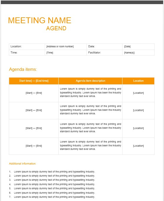 13 Free Sample Office Meeting Agenda Templates Printable With Regard To Awesome Agenda And Meeting Minutes Template