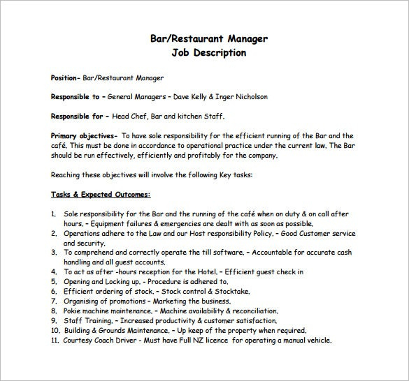 14 Restaurant Manager Job Description Templates Word Throughout Quality Restaurant Managers Log Template