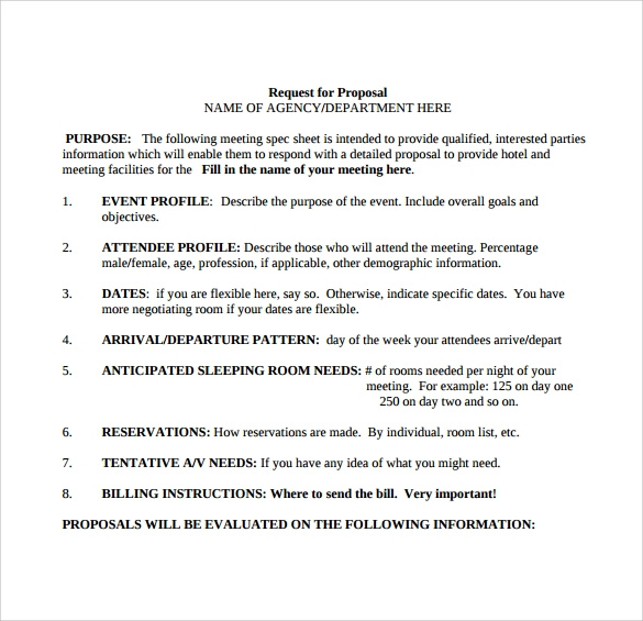 15 Sample Free Request For Proposal Templates Sample Throughout Simple Request For Proposal Template