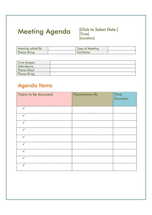 17 Free Meeting Agenda Templates For Ms Word Within 1 On 1 Meeting Agenda Template