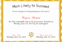 20 Most Likely To Certificate ™ Dannybarrantes Template With Awesome Most Likely To Certificate Template Free