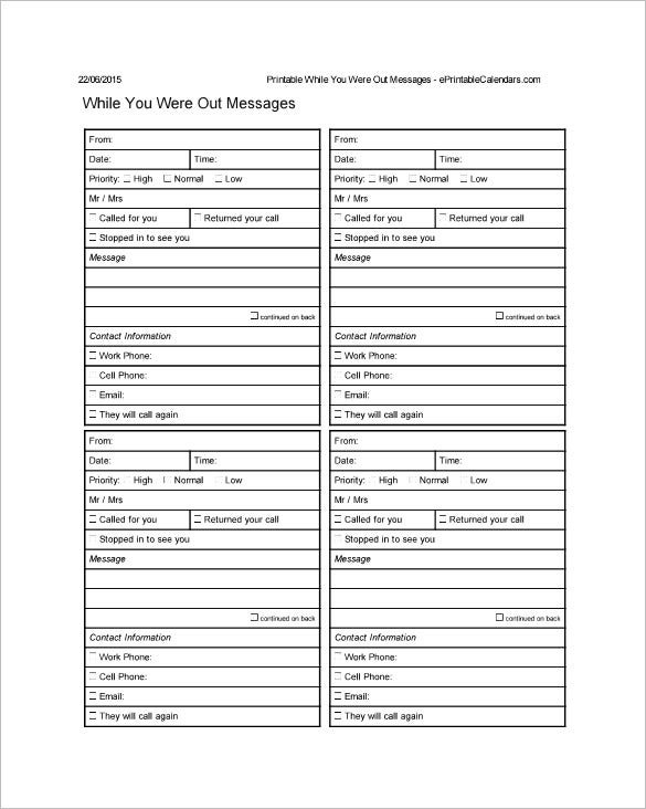 21 Phone Message Templates Pdf Doc Free Premium Throughout Voicemail Log Template