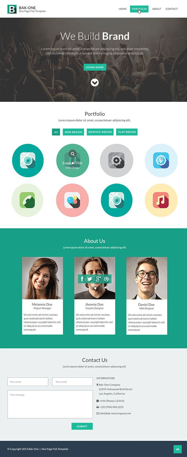 26 Free One Page Psd Web Template Designs Free Within One Page Business Website Template