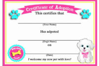50 Off Sale Puppy Dog Adoption Certificates Instant Inside Puppy Birth Certificate Template