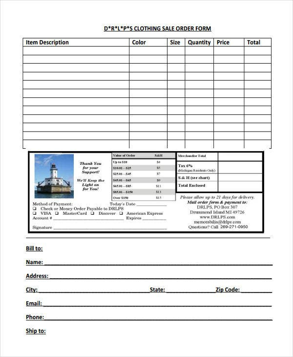 9 Clothing Order Forms Free Samples Examples Format For Business Plan Template For Clothing Line