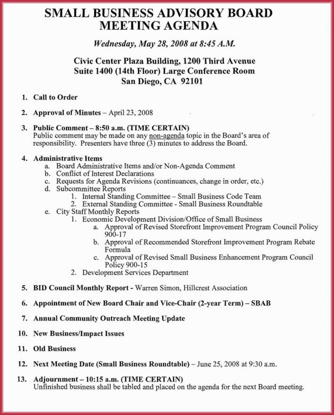 910 Creative Meeting Agenda Template Aikenexplorer For Agenda Template For Nonprofit Board Meeting