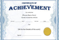Achievement Certificate Templates Stationery Templates Within Certificate Of Achievement Template Word