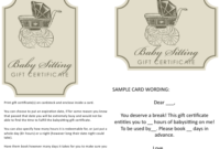 Babysitting Gift Certificate Templates Download Printable Throughout Free Printable Babysitting Gift Certificate