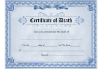 Blue Certificate Of Death Template Download Printable Pdf With Death Certificate Template