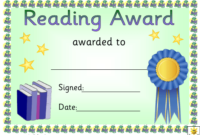 Blue Ribbon Reading Award Certificate Template Download For Amazing Reading Achievement Certificate Templates