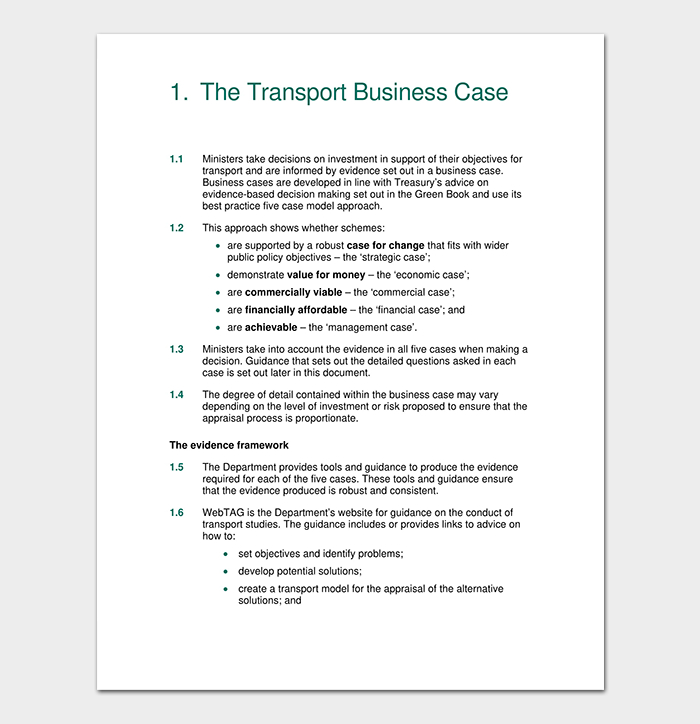 Business Case Template 9 Simple Formats For Word Pertaining To Writing Business Cases Template