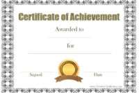 Certificate Of Achievement Certificates Templates Free For Certificate Of Achievement Template Word