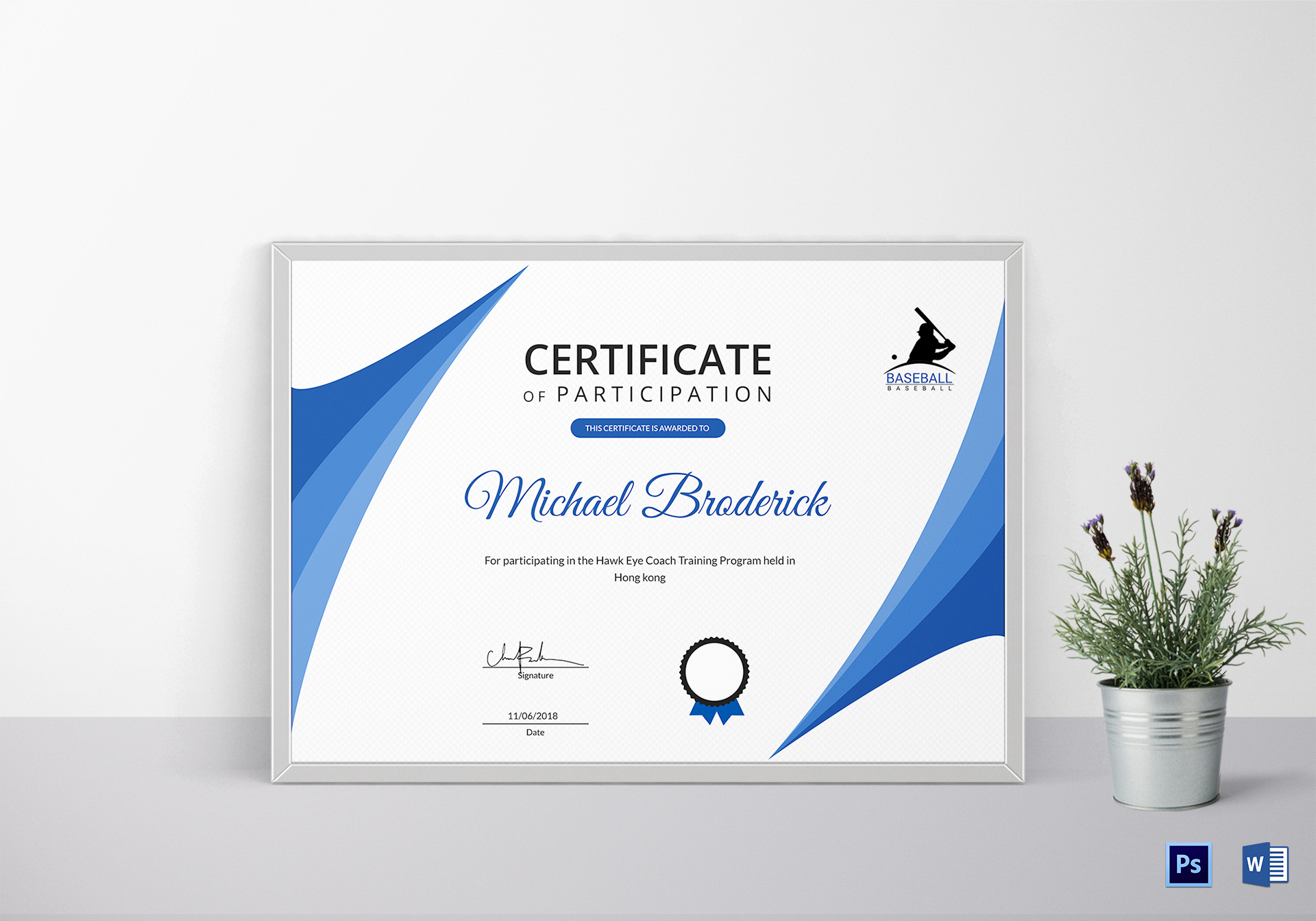 Certificate Of Coach Participation Design Template In Psd Intended For Templates For Certificates Of Participation