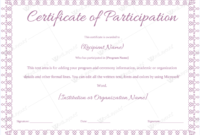 Certificate Of Participation 09 Word Layouts Regarding Free Certificate Of Participation Word Template
