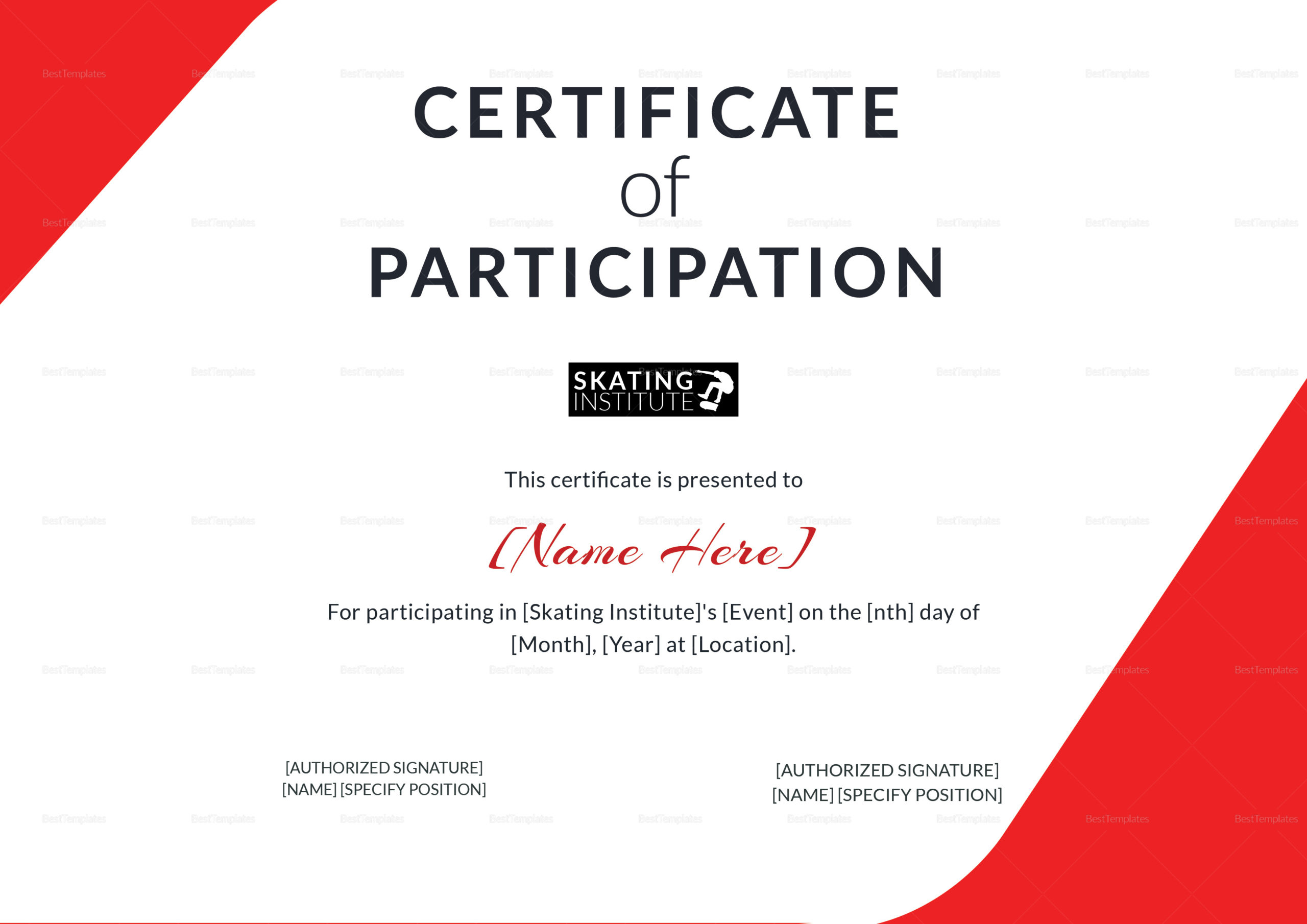 Certificate Of Participation For Skating Design Template Pertaining To Templates For Certificates Of Participation