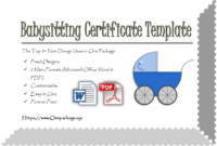 Completion Certificates Op Templates Intended For Best Free Printable Babysitting Gift Certificate