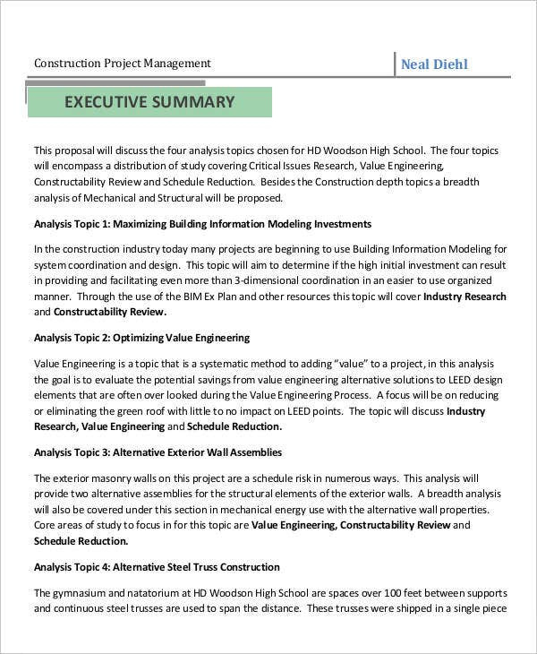 Construction Business Proposal Templates 10 Free Word Pertaining To Free Construction Business Plan Template