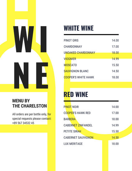 Customize 61 Wine Menu Templates Online Canva In Wine Bar Business Plan Template