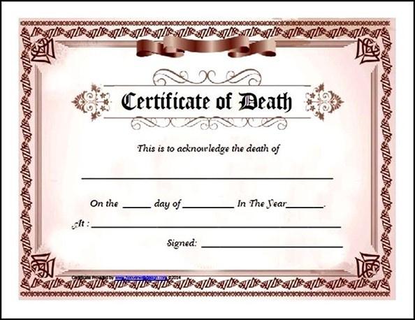 Death Certificate Template Free Download Pdf Sample Throughout Death Certificate Template