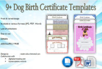 Dog Birth Certificate Template Editable 9 Designs Free With Regard To Puppy Birth Certificate Template
