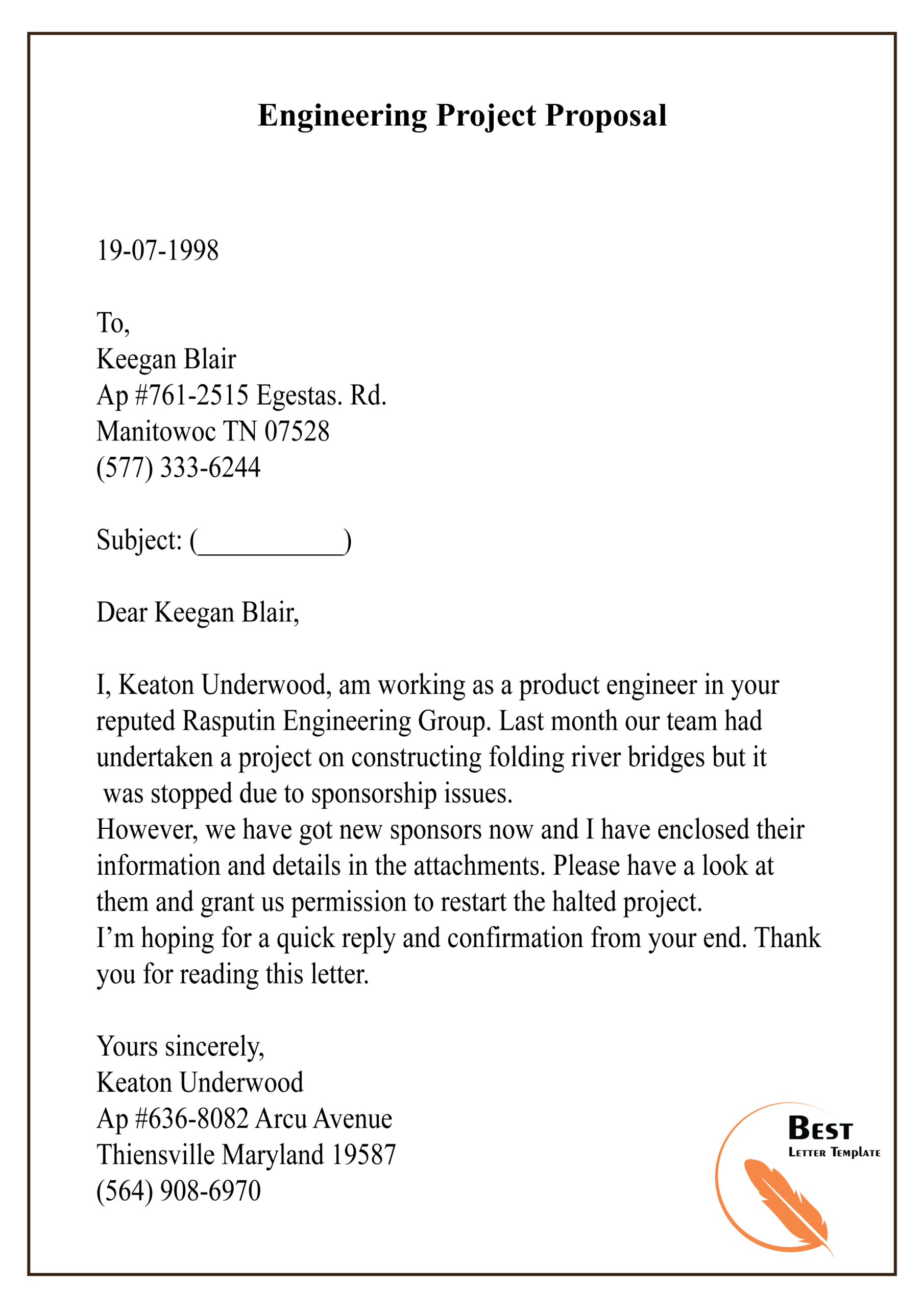 Engineering Project Proposal01 Best Letter Template Regarding Printable Engineering Proposal Template