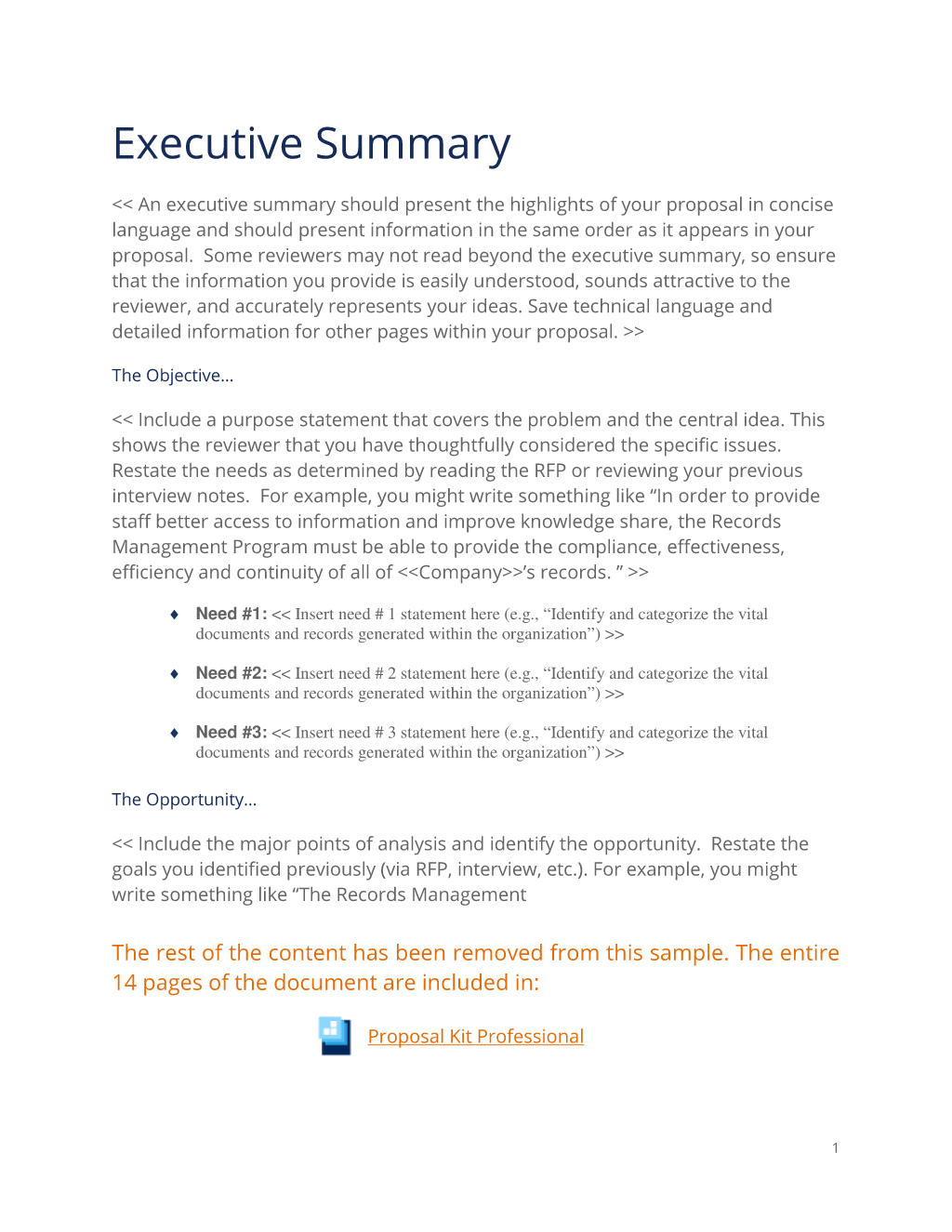 Executive Summary Sample For Proposal Slideshare In Business Analysis Proposal Template