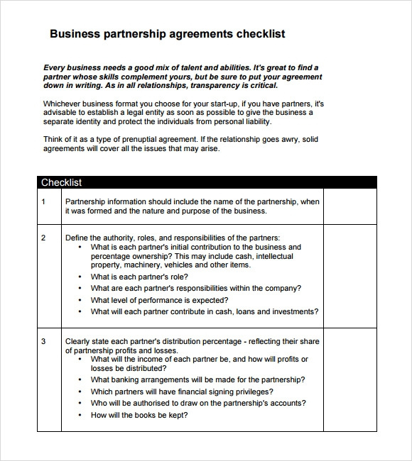Free 10 Sample Business Partnership Agreement Templates Inside Business Contract Template For Partnership
