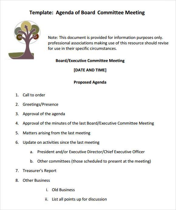 Free 11 Sample Board Meeting Agenda Templates In Pdf Ms Pertaining To Agenda For A Meeting Template