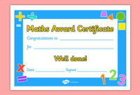 Free Maths Award Certificate Teacher Made With Regard To Math Award Certificate Template