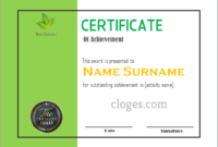 Green Word Certificate Of Achievement Template For Free Certificate Of Achievement Template Word