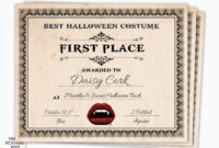 Halloween Award Halloween Costume Certificate 1St Place Etsy Pertaining To First Place Certificate Template
