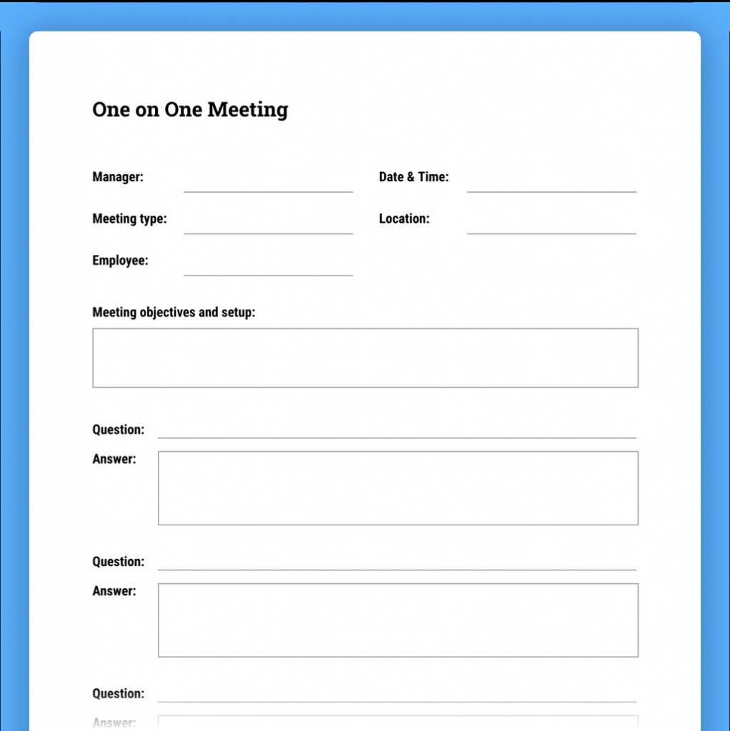 How To Run Effective Meetings With Templates The In Amazing 1 On 1 Meeting Template