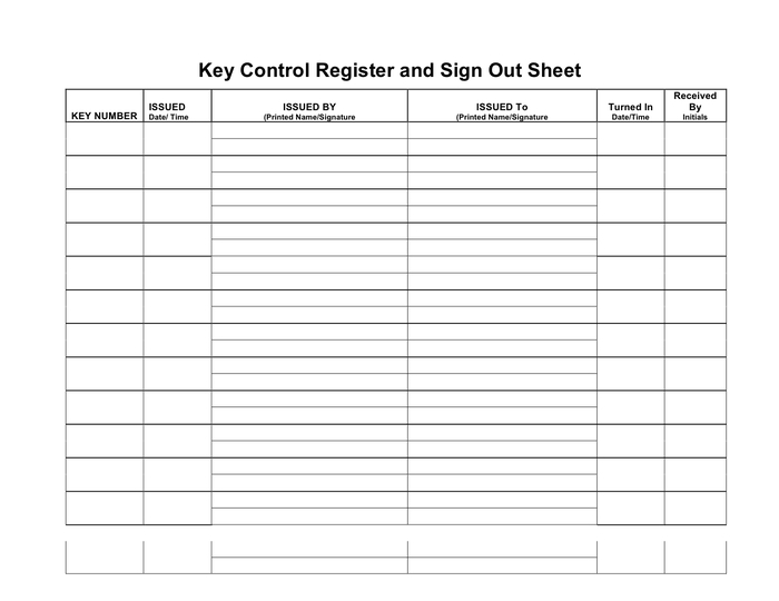 Key Control Register And Sign Out Sheet In Word And Pdf Throughout Printable Infection Control Log Template