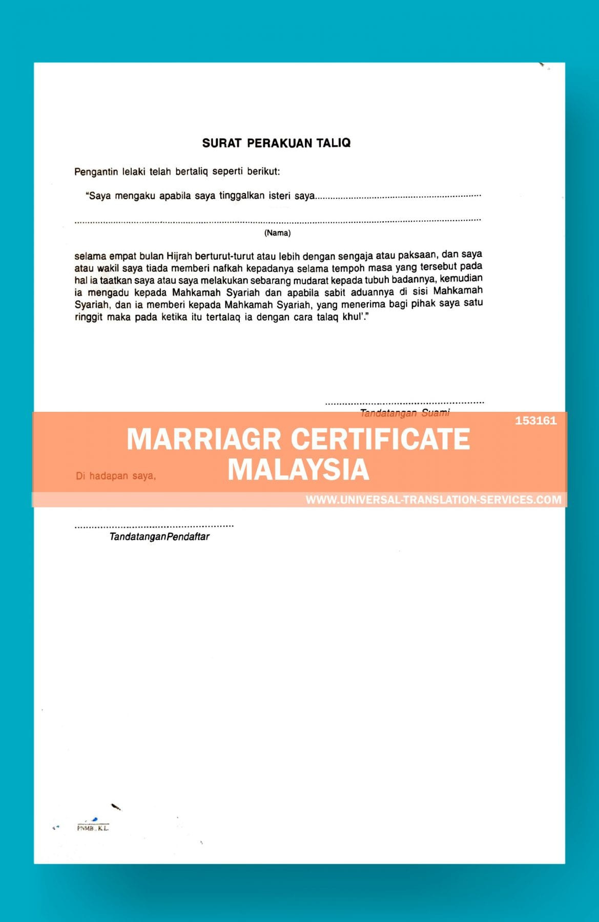 Malaysia Marriage Certificate Translation Template By Ata In Marriage Certificate Translation Template