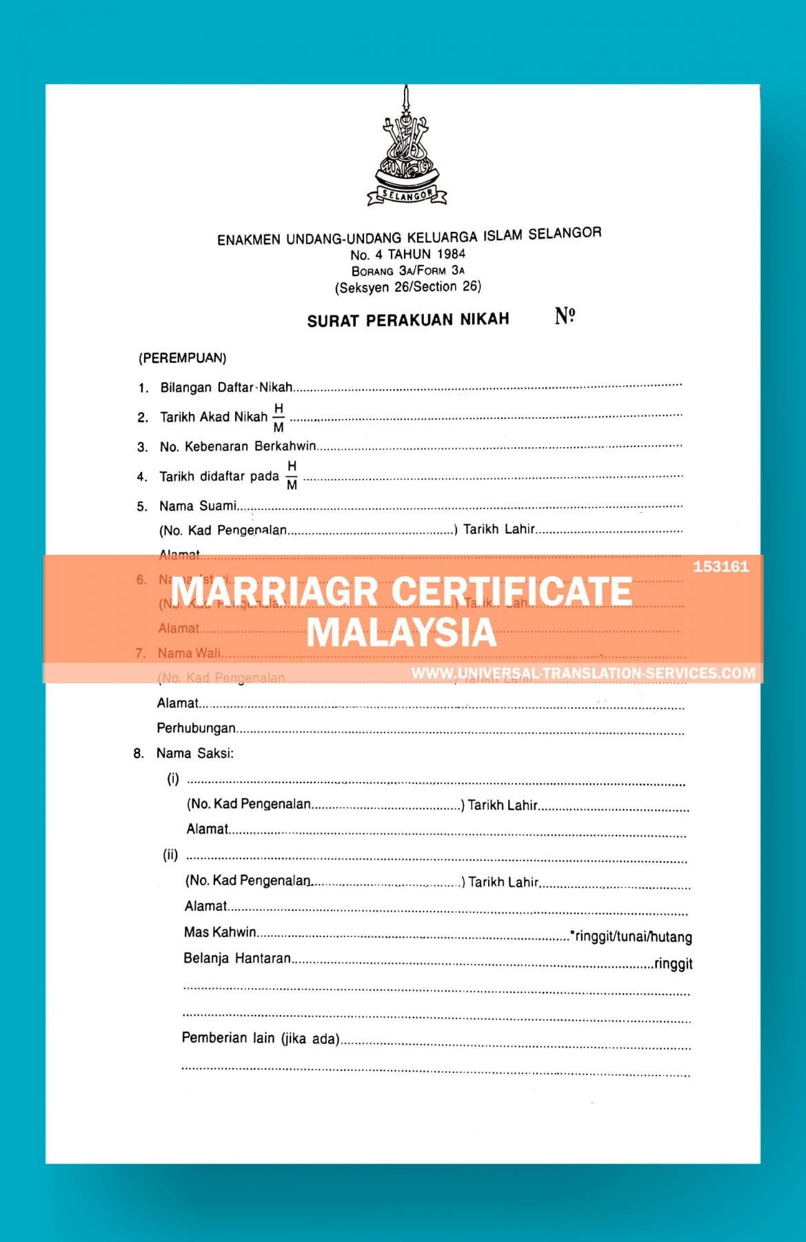 Malaysia Marriage Certificate Translation Template By Ata Pertaining To Free Marriage Certificate Translation Template