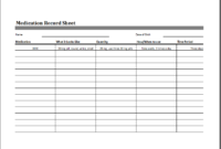 Medication Record Sheet Editable Printable Excel Template Inside Pain Log Template