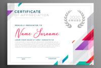 Modern Certificate Award Template Design Vector Throughout Design A Certificate Template