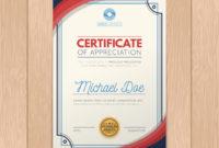 Modern Certificate Template With Flat Design Free Vector Inside Amazing Design A Certificate Template