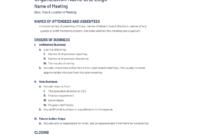 Non Profit Board Of Directors Meeting Agenda Template For Nonprofit Board Meeting Agenda Template
