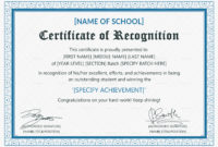 Outstanding Student Recognition Certificate Design Regarding In Appreciation Certificate Templates