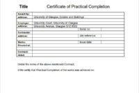 Practical Completion Certificate Template Uk Templates With Awesome Construction Certificate Of Completion Template