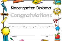 Printable Kindergarten Diploma Kindergarten Graduation Etsy With Regard To 10 Kindergarten Graduation Certificates To Print Free