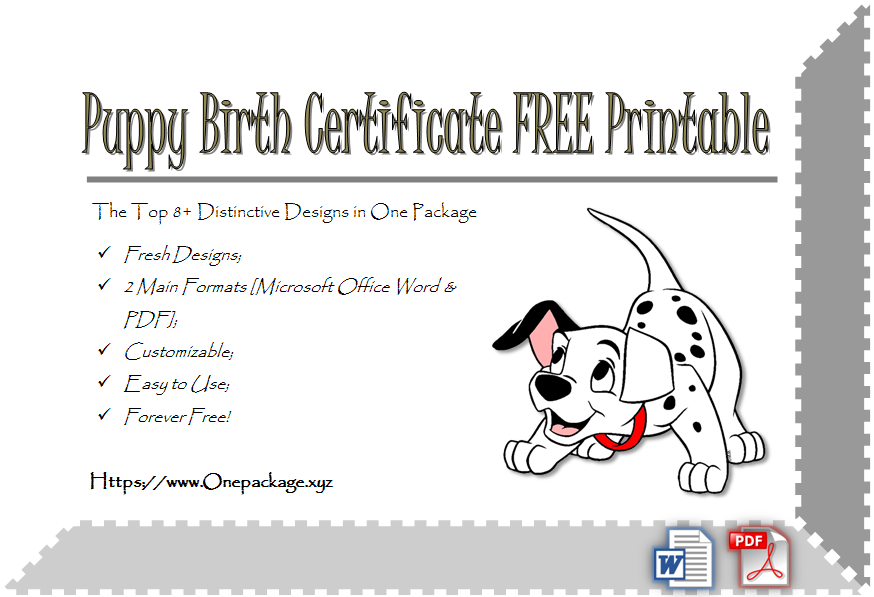 Puppy Birth Certificate Free Printable 8 Distinctive Ideas With Puppy Birth Certificate Template