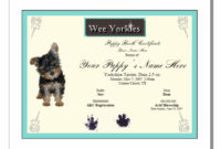 Puppy Birth Certificates Template Business In Free Puppy Birth Certificate Template