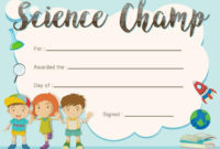 Science Champ Award Template With Kids In Background With Science Award Certificate Templates