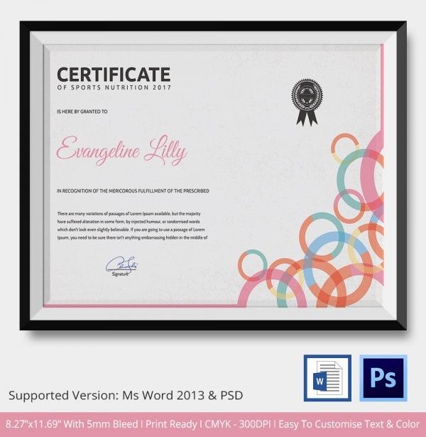 Sports Certificate Template 6 Word Psd Format Download Intended For Athletic Certificate Template