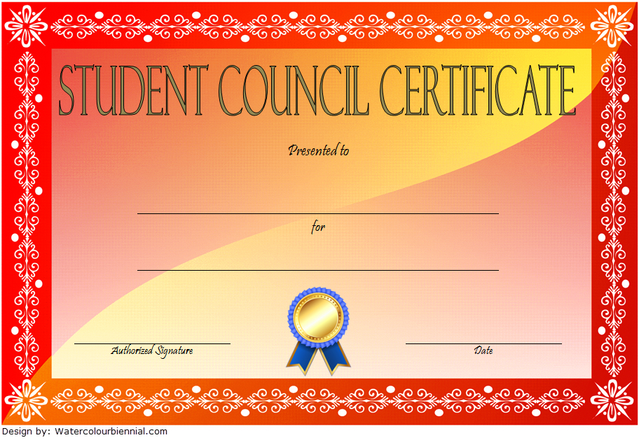 Student Council Certificate Template 8 New Designs Free With Regard To Printable Student Leadership Certificate Template Ideas