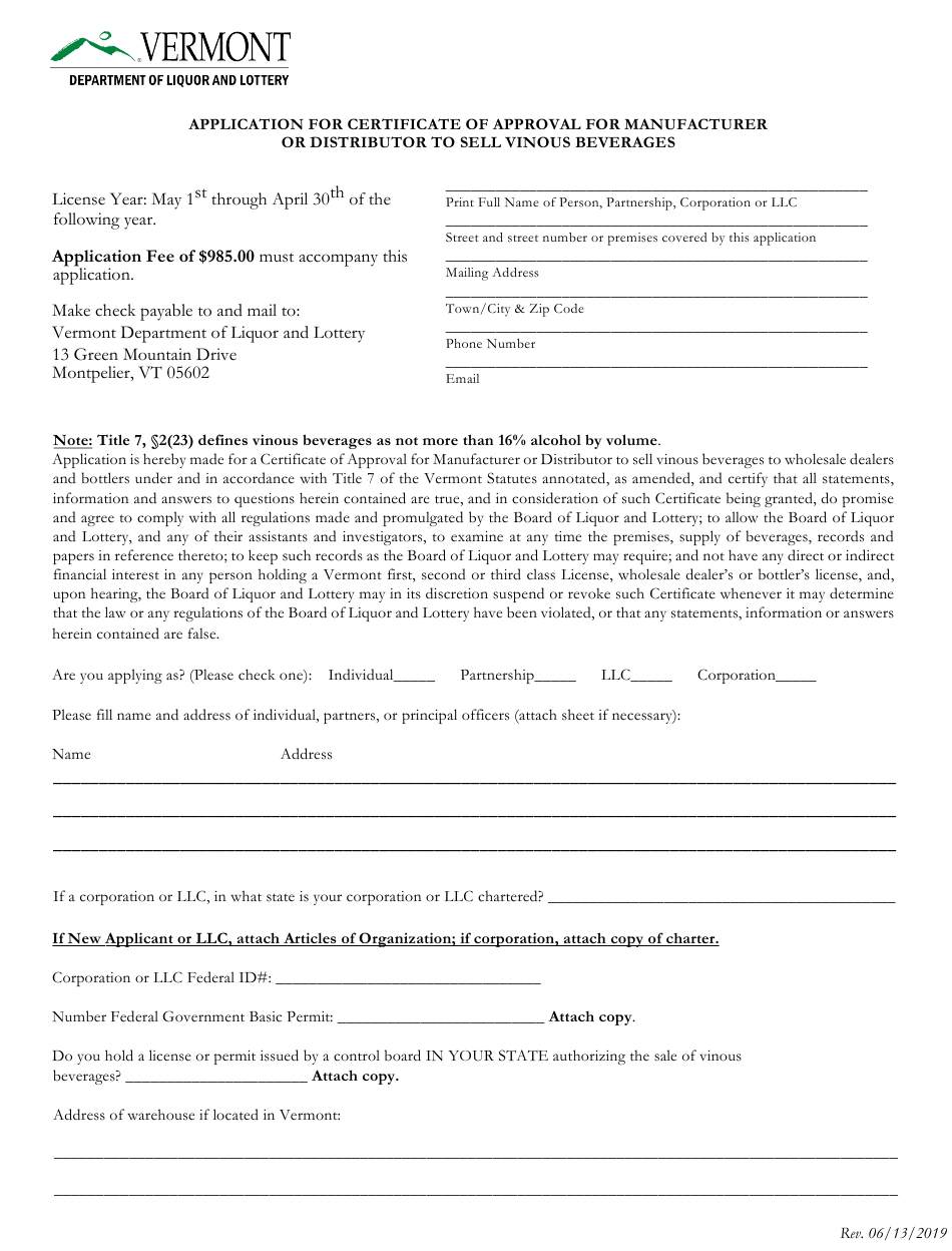Vermont Application For Certificate Of Approval For Intended For Free Certificate Of Manufacture Template