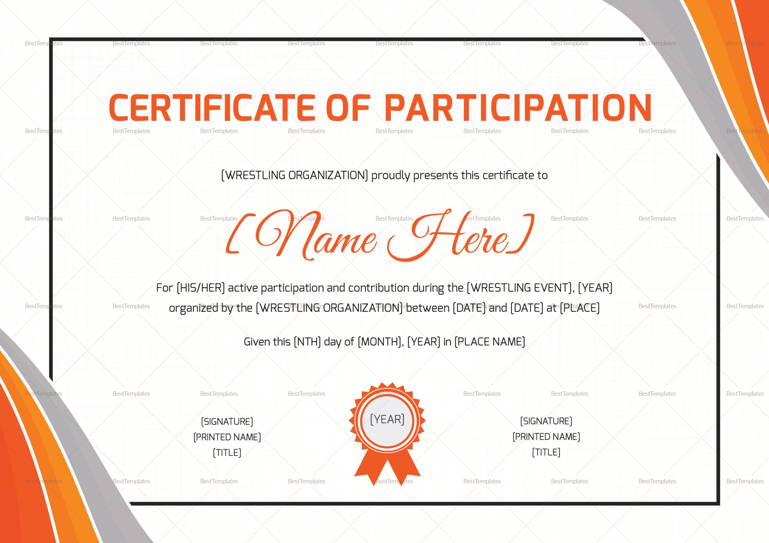 Wrestling Participation Certificate Design Template In Psd With Regard To Templates For Certificates Of Participation